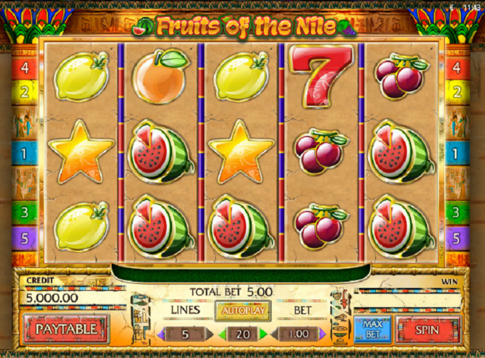 Fruits of the Nile online slots game paytable info