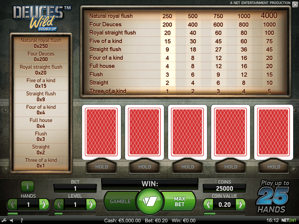 Deuces Wild Double Up online slots game screen