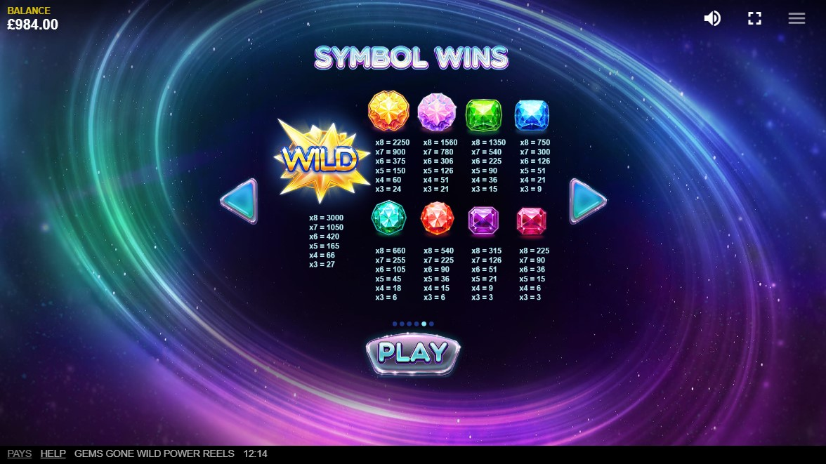 Gems Gone Wild Power Reels Slot Online