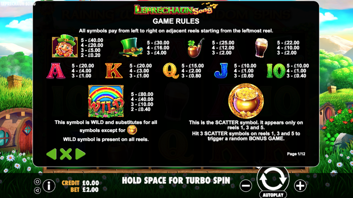 info leprechaun song slots