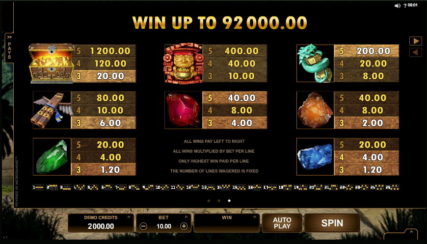 Jungle Jim El Dorado online slots game paytable
