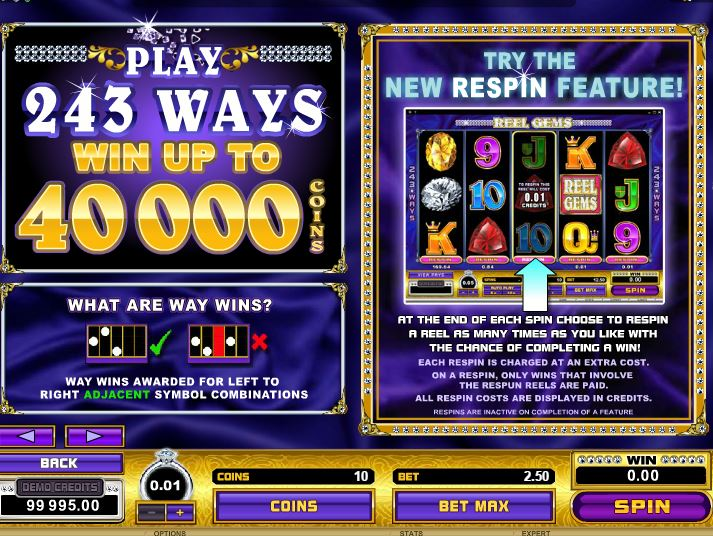 Reel Gems Deluxe Slot Features